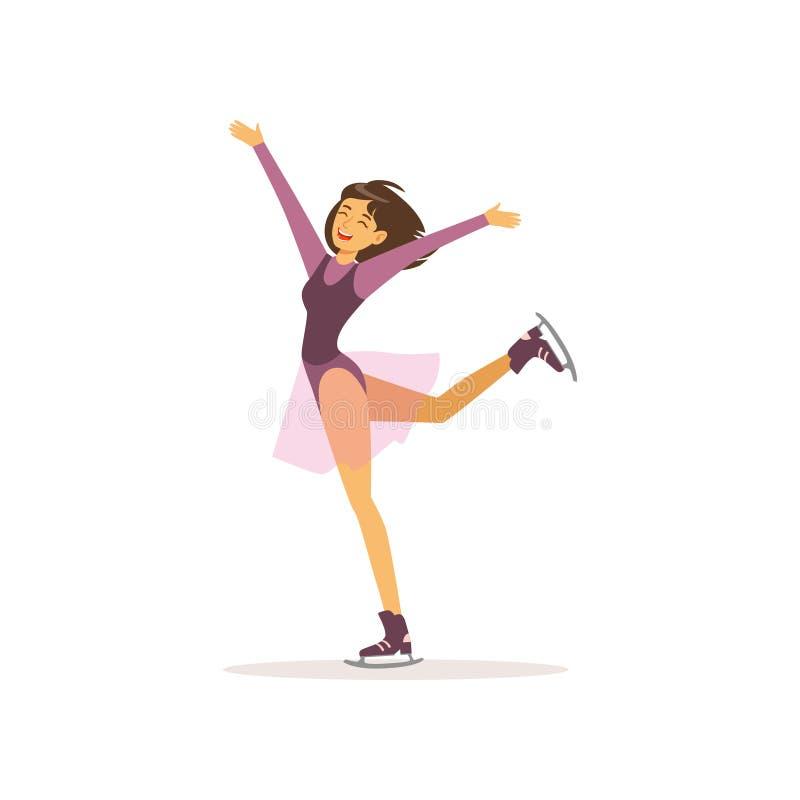 Маленькая девочка шаржа катаясь на коньках на коньках Профессиональный фигурист в элегантном костюме Жизнерадостный характер женщ иллюстрация штока