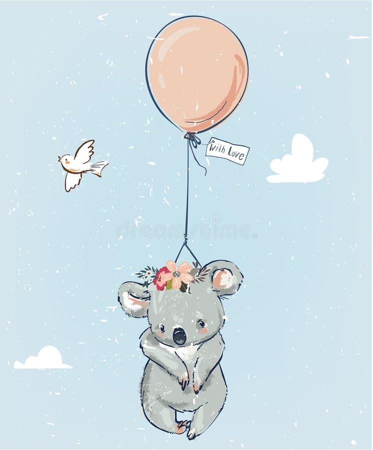 Маленькая коала с воздушным шаром иллюстрация вектора