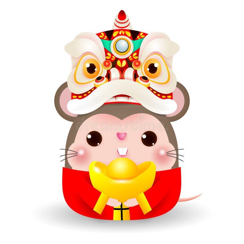 Маленькая крыса с головой танца льва держа китайское золото, счастливый китайский Новый Год 2020 год зодиака крысы, вектор мультф иллюстрация штока