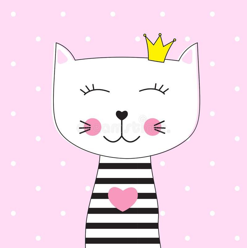 Маленькая милая принцесса Вектор Иллюстрация кота иллюстрация штока