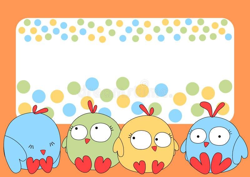 Маленькая поздравительная открытка цыпленоков бесплатная иллюстрация