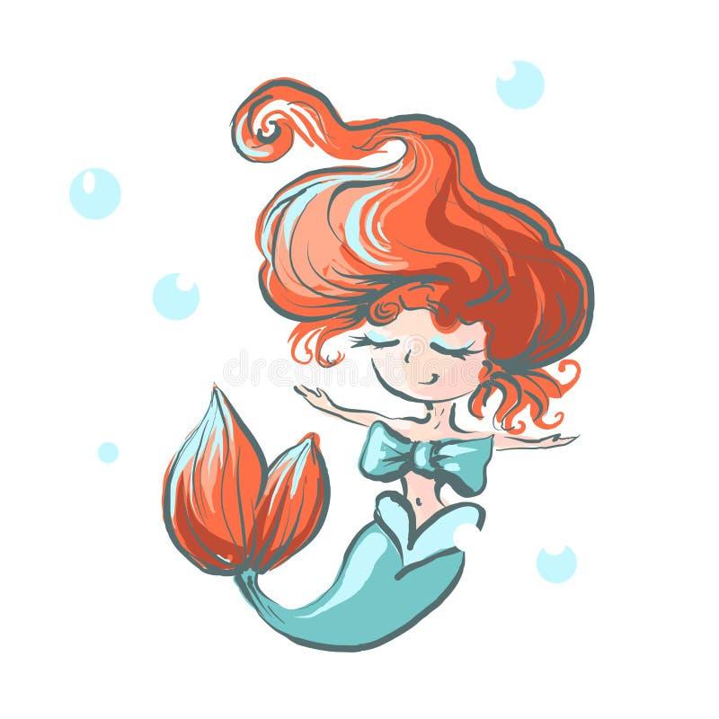 Маленькая русалка с плавать смычка счастливый в искусство питомника воды иллюстрация штока