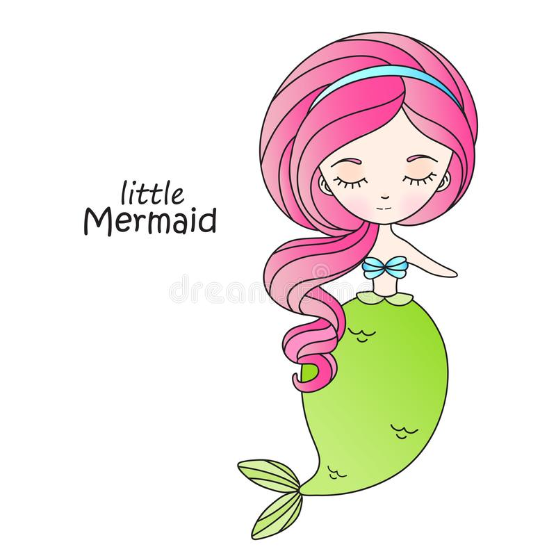 Маленькая русалка с розовыми волосами иллюстрация вектора