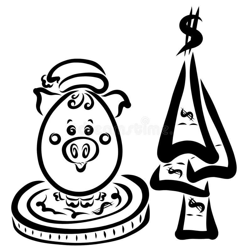 Маленькая свинья в шляпе Санта Клауса сидит на большой монетке рядом с a иллюстрация штока