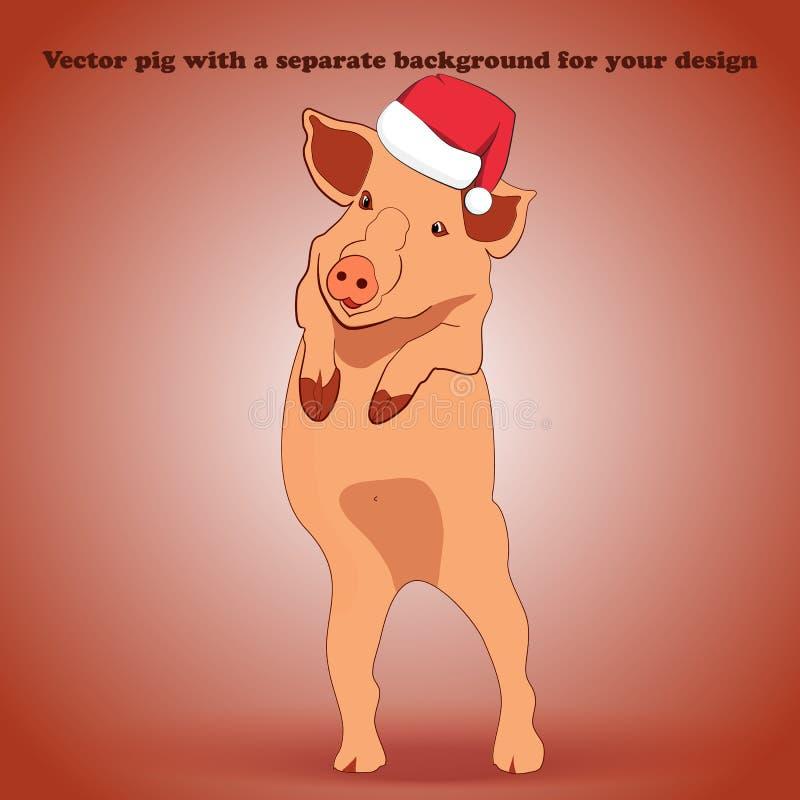 Маленькая свинья в шляпе Санта Клаусе стоящ и развевающ его копыто иллюстрация вектора