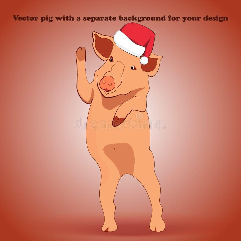 Маленькая свинья в шляпе Санта Клаусе стоящ и развевающ его копыто бесплатная иллюстрация