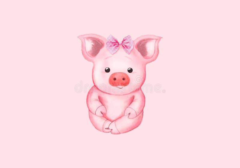 Маленькая свинья и розовый смычок Новый Год Simbol счастливый китайский Изолировано на пинке иллюстрация штока