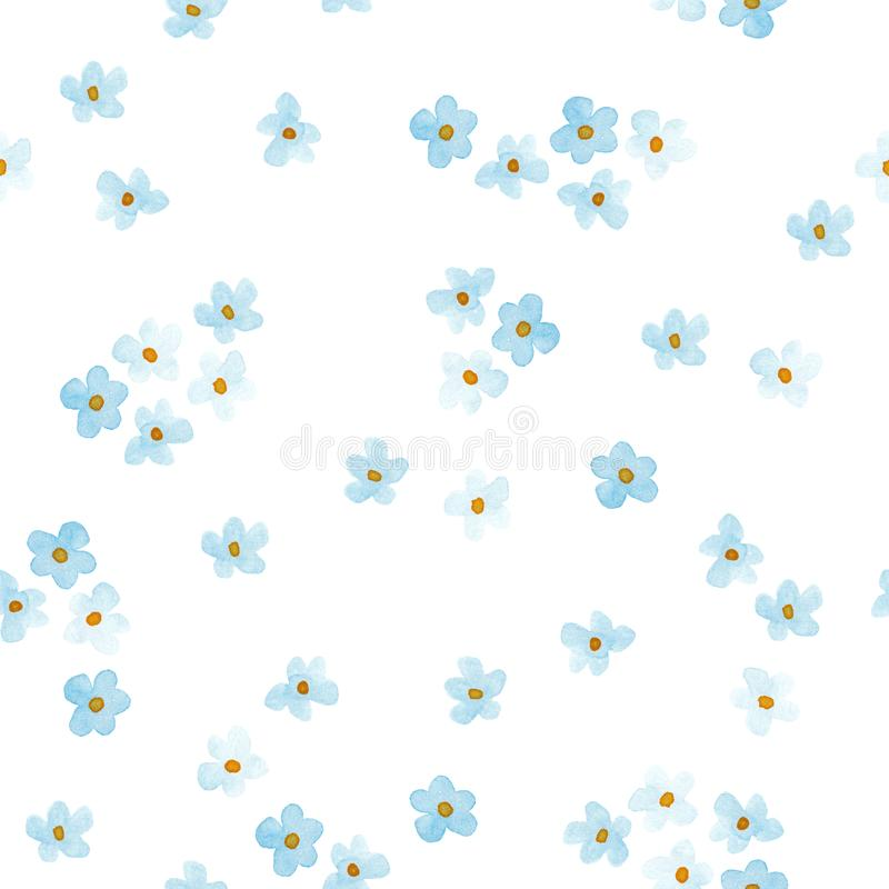 Маленькие голубые и белые цветы, рисованная водяной краской - бесшовный рисунок, нарисованный вручную с цветущим цветом стоковое изображение