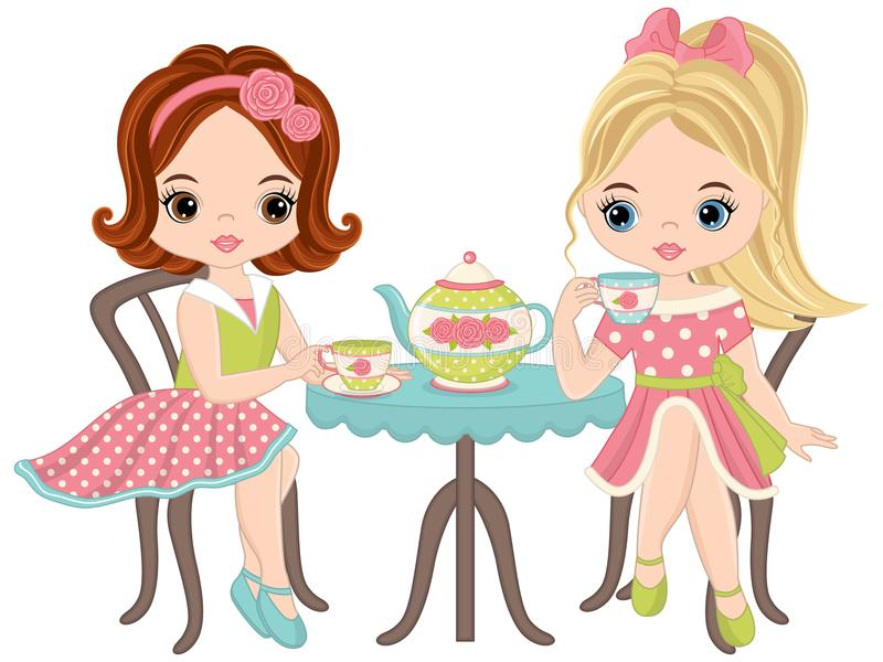 Маленькие девочки вектора милые имея чай иллюстрация штока