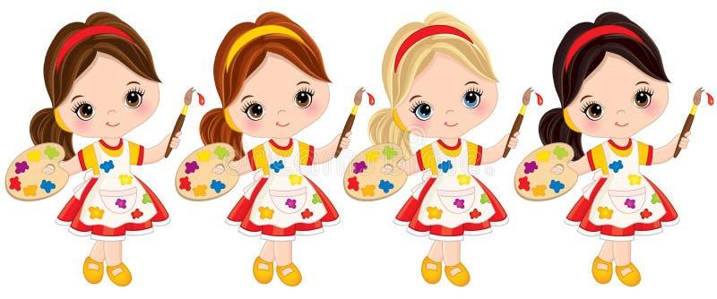 Маленькие девочки вектора с палитрой и кистями Художники вектора маленькие иллюстрация штока