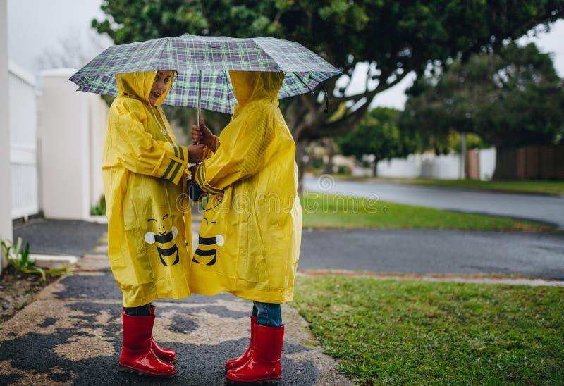 Маленькие девочки с плащами и зонтиком outdoors на дождливый день стоковые изображения rf