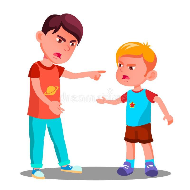 Маленькие дети в конфликте в векторе спортивной площадки спорит изолированная иллюстрация руки кнопки нажимающ женщину старта s иллюстрация вектора