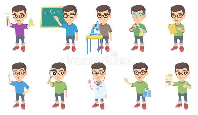 Маленькие кавказские установленные иллюстрации вектора мальчика бесплатная иллюстрация