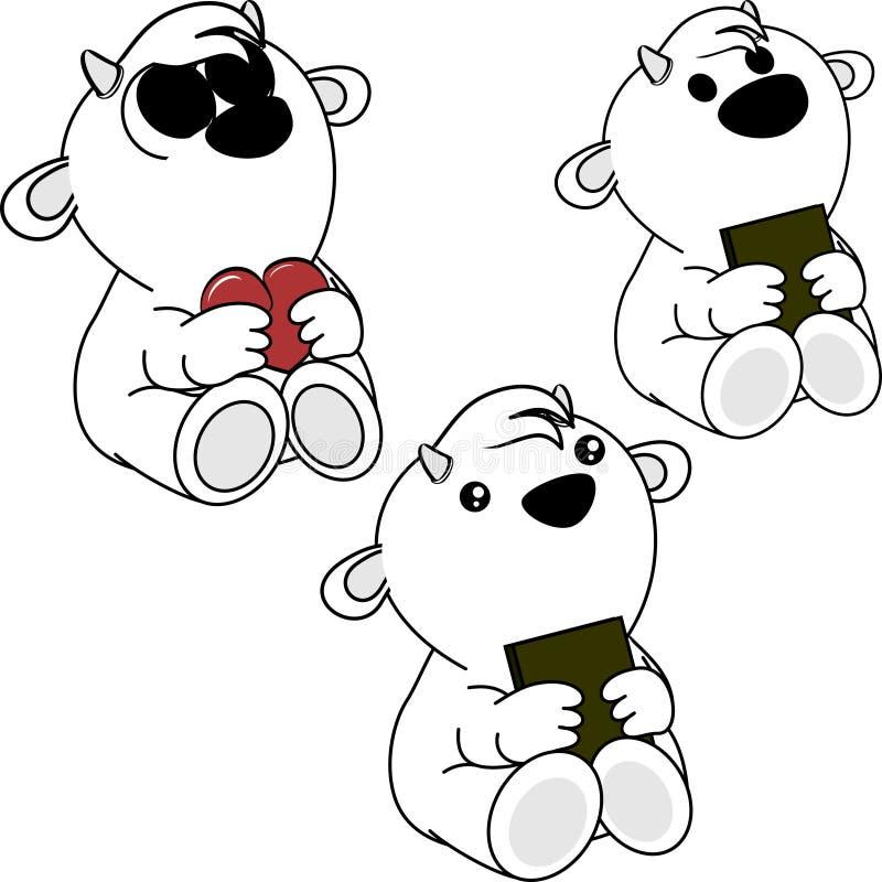 Маленькие милые книга шаржа козы младенца и комплект сердца иллюстрация штока