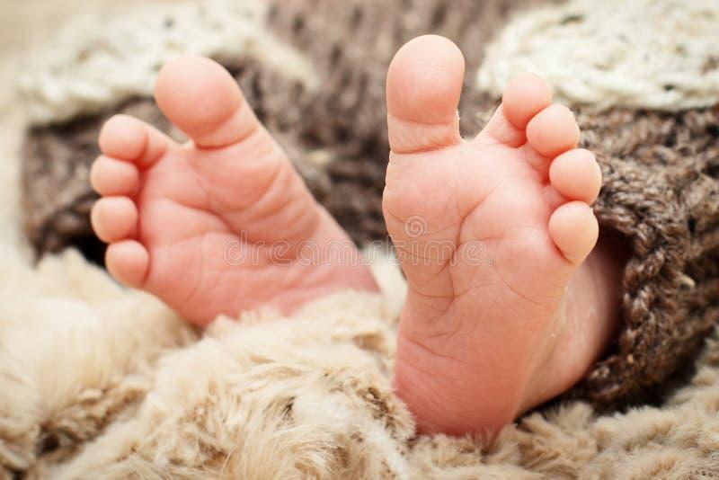 Маленькие ноги новорожденного ребенка стоковые изображения rf