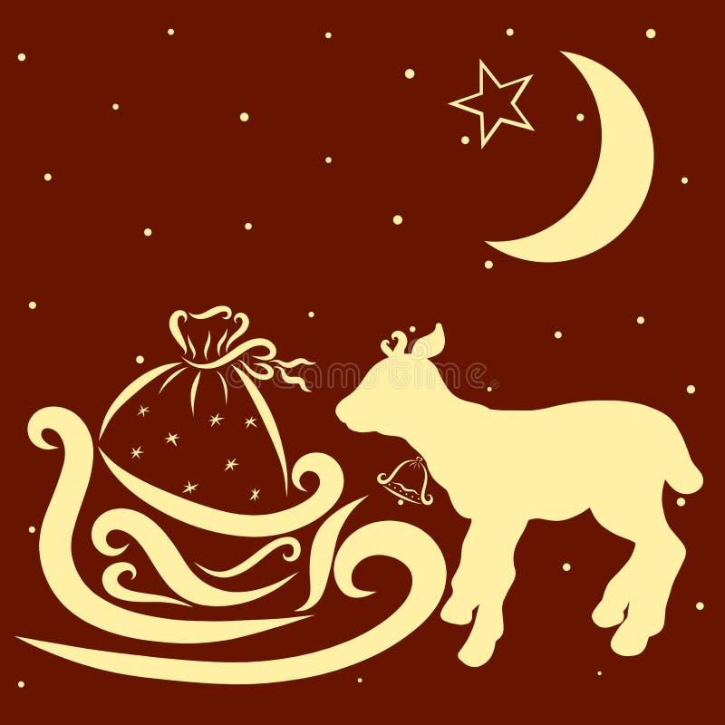 Маленькие олени или бык с колоколом, сани ` s Санты с настоящими моментами бесплатная иллюстрация
