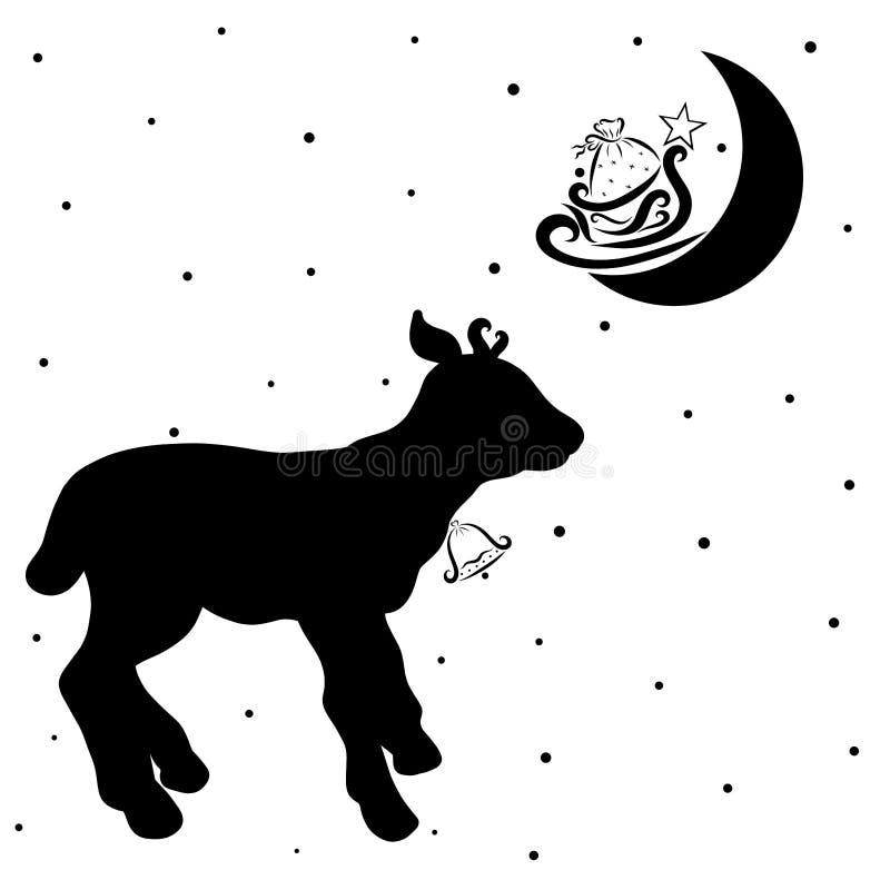 Маленькие олени или икра с колоколом и подарки от Санта Клауса на th бесплатная иллюстрация
