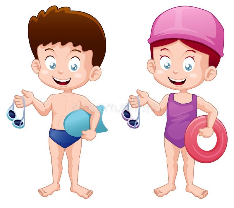 Маленькие ребеята в костюме заплывания бесплатная иллюстрация