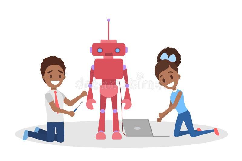 Маленькие ребеята consctructing робот забавляются совместно иллюстрация вектора