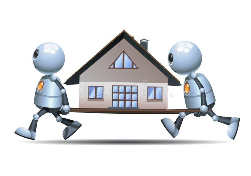 Маленькие роботы двигая небольшой дом иллюстрация штока