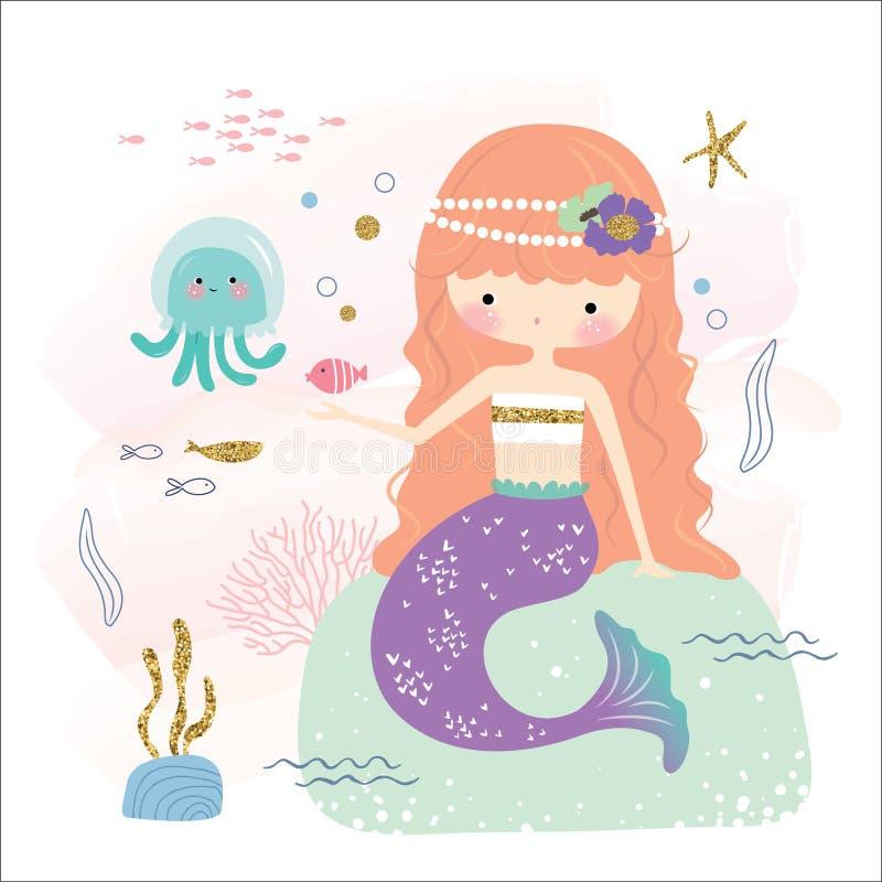 Маленькие русалка и друзья бесплатная иллюстрация