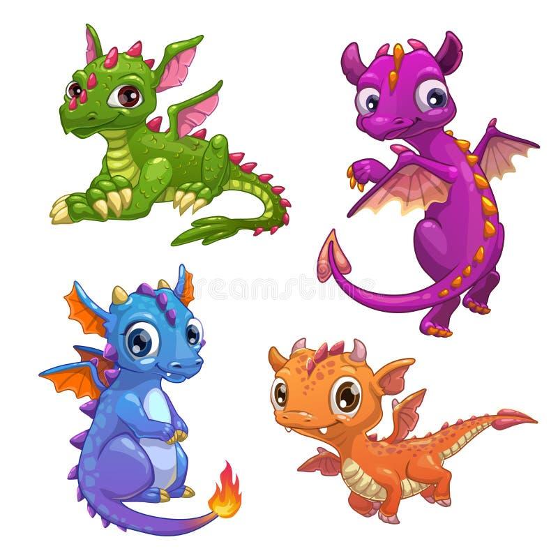 Маленькие установленные драконы иллюстрация вектора
