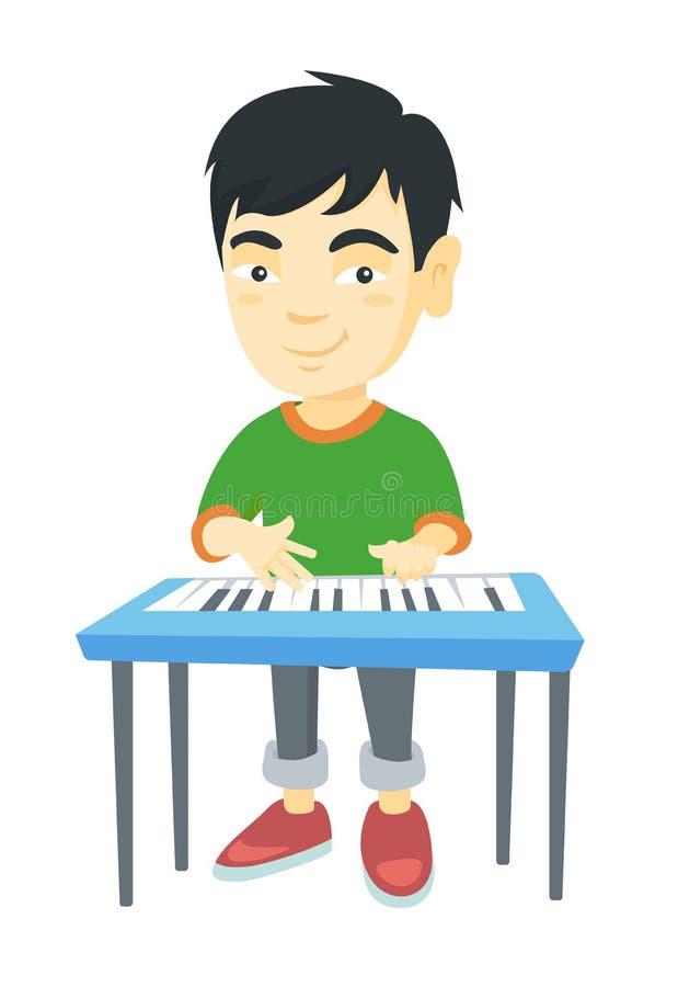 Маленький азиатский мальчик играя рояль иллюстрация вектора