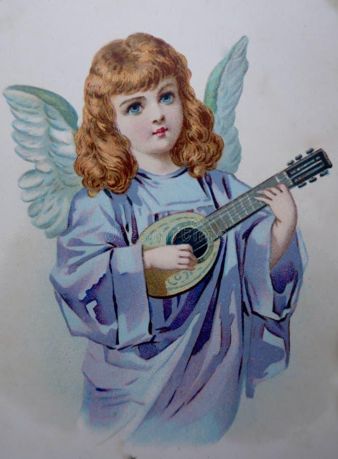 Маленький ангел музыканта с иллюстрацией ca лютни 1890 стоковое фото rf
