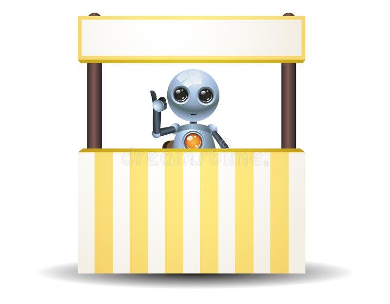 маленький бизнесмен робота продавая на киоске иллюстрация вектора