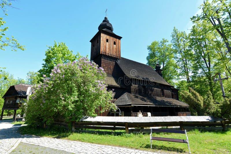 Маленький деревянный городок - стручок Radhostem Roznov, регион Zlin, чехия стоковая фотография