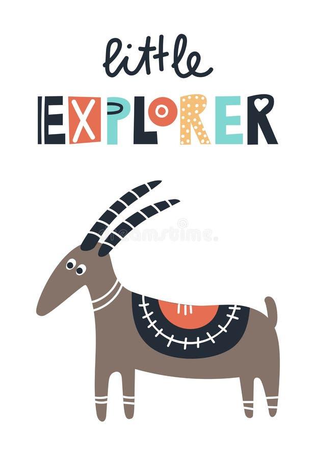 Маленький исследователь - милые дети вручают вычерченный плакат питомника с животным и литерностью козы Иллюстрация вектора цвета бесплатная иллюстрация