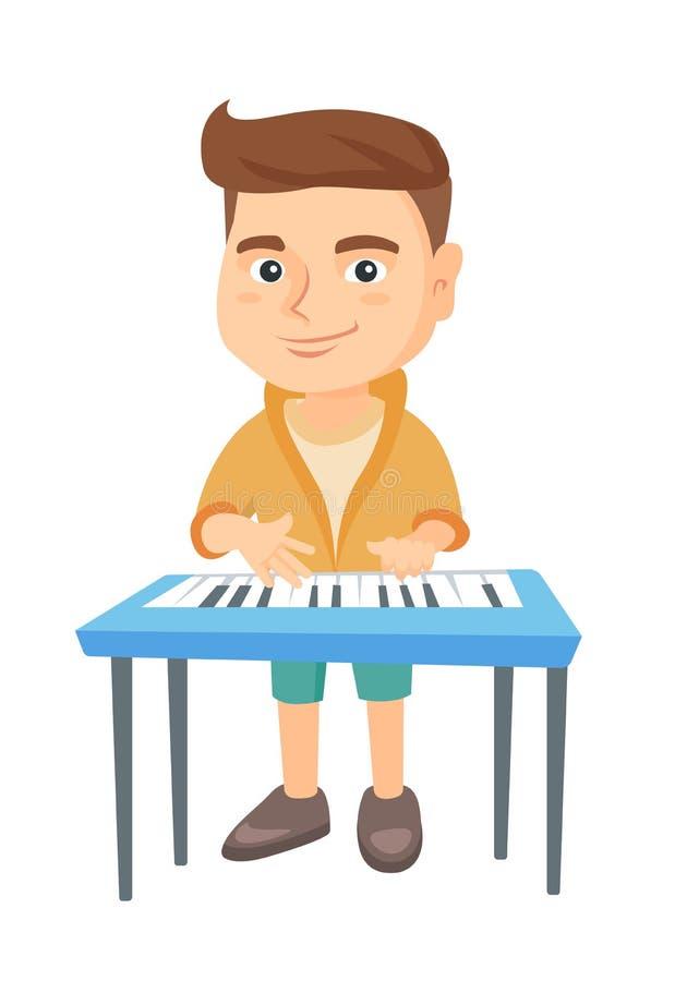 Маленький кавказский мальчик играя рояль бесплатная иллюстрация