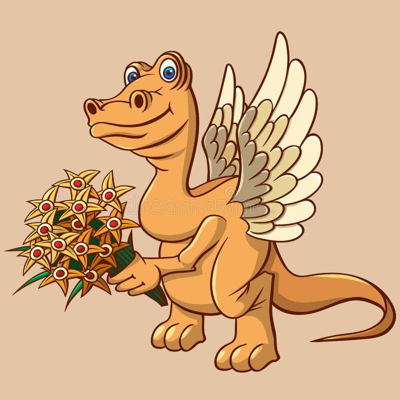 Маленький, который подогнали динозавр пришел посетить С букетом и поздравлениями иллюстрация штока