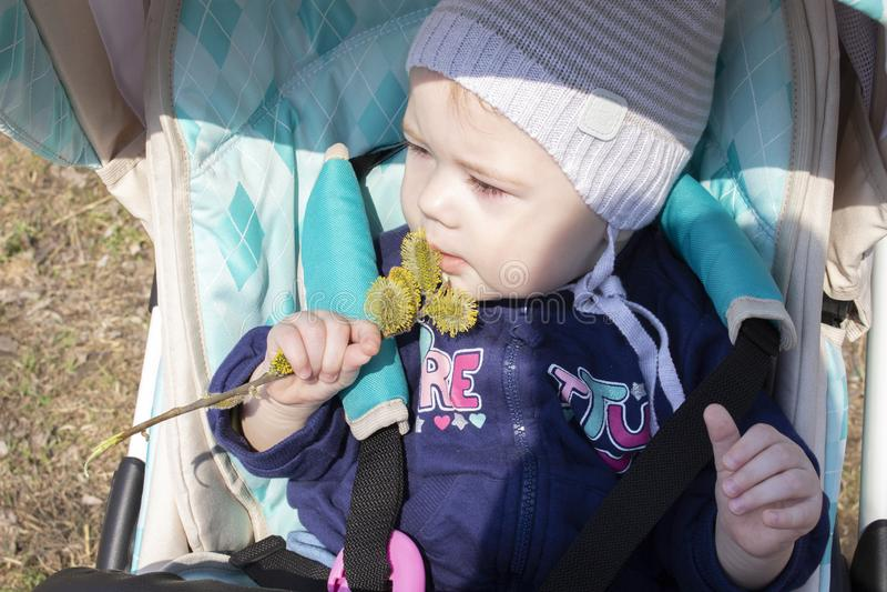 Маленький младенец 8 9 месяцев мальчика девушки обнюхивает бутоны цветков сидя в прогулочной коляске Флора ребенка исследуя цветк стоковое изображение