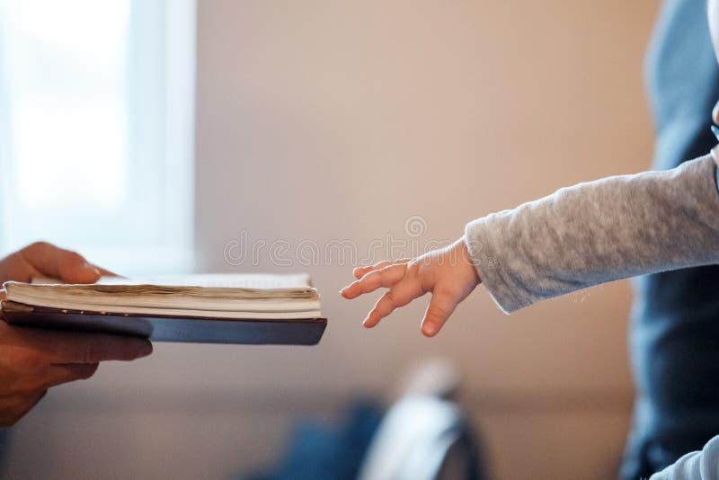 Маленький ребенок вытягивает его руку к библии стоковое изображение rf
