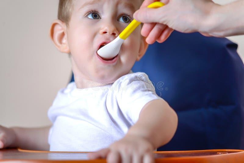 Маленький ребенок ест открытие его рта широко сидя на стуле в кухне Питания мамы держа ложку каши стоковое фото rf