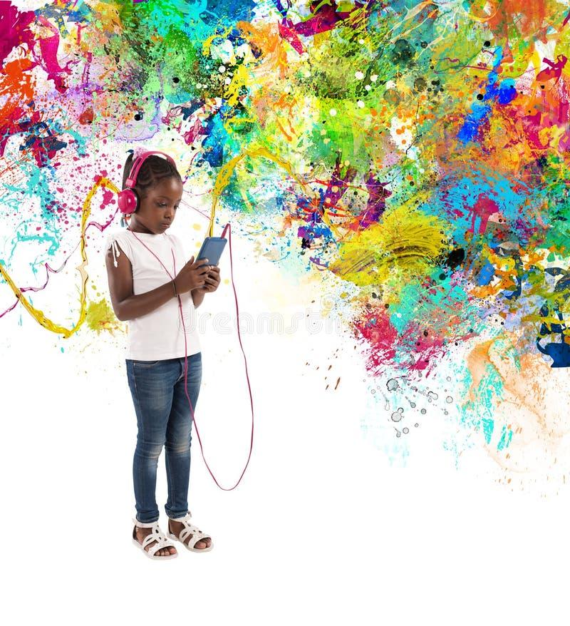 Маленький ребенок слушает музыку с влияниями выплеска иллюстрация штока