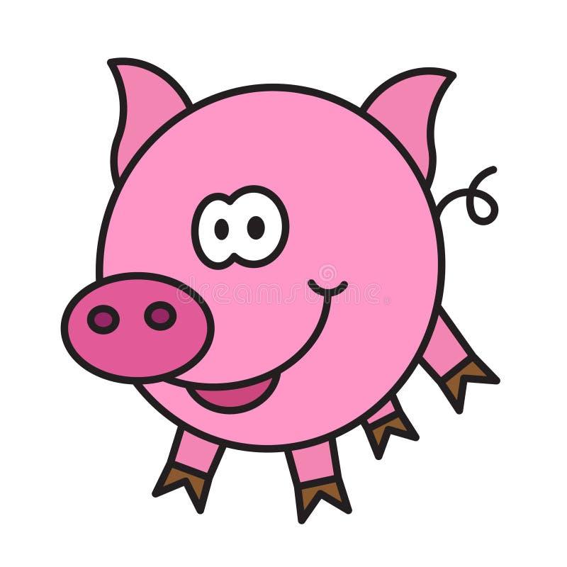 Маленький смешной шарж свиньи иллюстрация штока