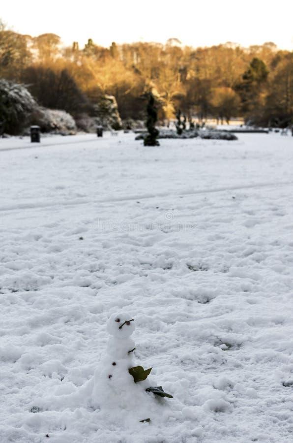 Маленький снеговик, построенный на центральном переулке в парке Ситон, Абердин, Скотлан стоковое фото rf