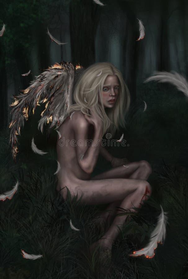 Маленький упаденный ангел бесплатная иллюстрация