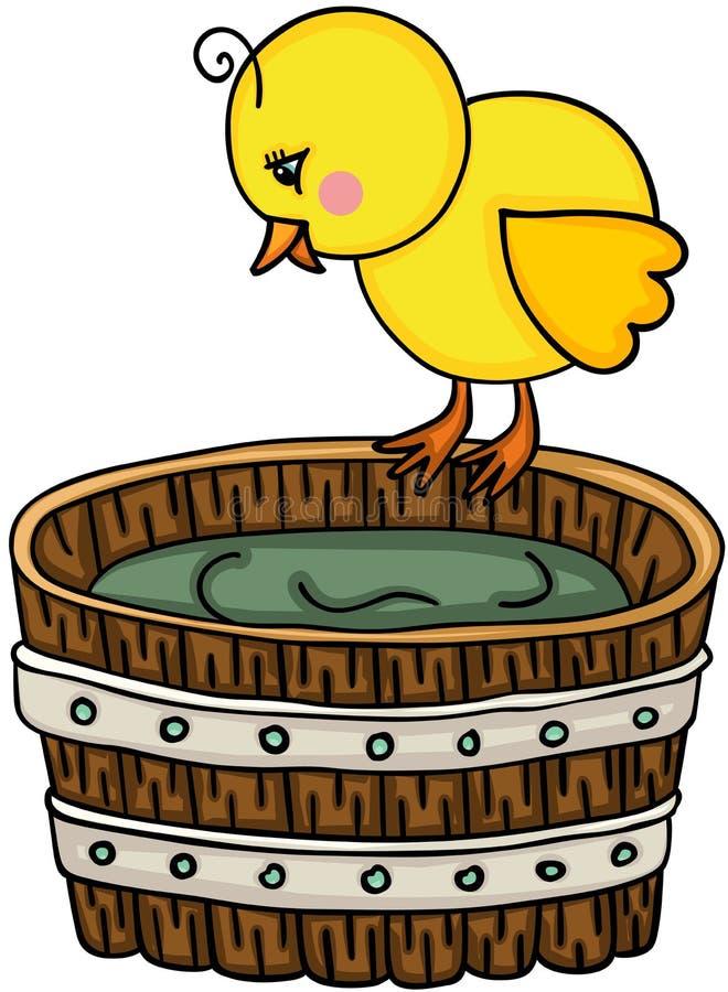 Маленький цыпленок с деревянным ушатом бесплатная иллюстрация