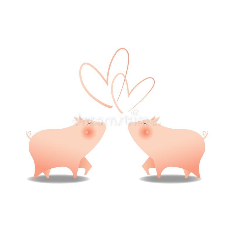 2 маленьких милых свиньи усмехаются с большой розовой щекой смотря на один другого с формой сердца верхней для эмоции любов, бело бесплатная иллюстрация