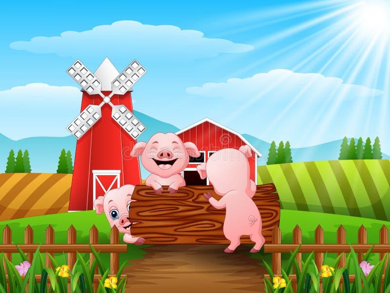 3 маленьких свиньи играя журналы иллюстрация штока