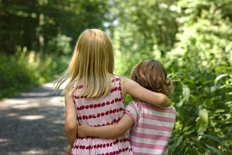 2 маленькой девочки нося руку прогулки платьев лета в руке вдоль солнечного леса отстают стоковые фотографии rf