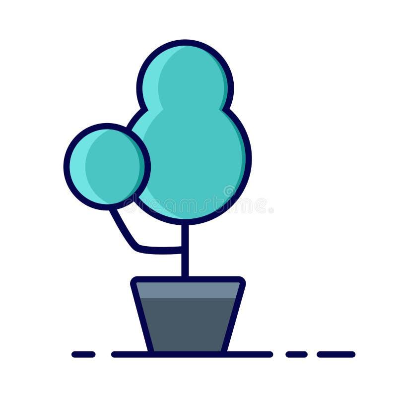 Малое, плоское в горшке декоративное дерево Изолировано на белизне бесплатная иллюстрация