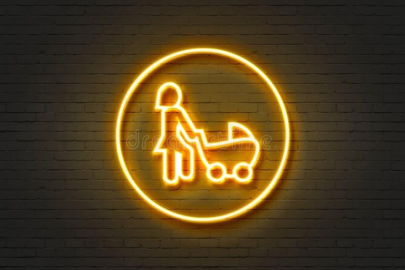 Малолитражный автомобиль женщины значка неонового света стоковое фото rf