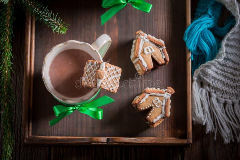 Малые коттеджи пряника с вкусным какао в вечере зимы рождества стоковые фото