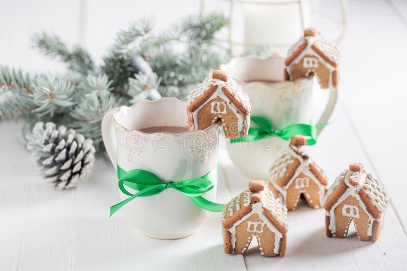 Малые коттеджи пряника с сладостным питьем как закуска рождества стоковые изображения