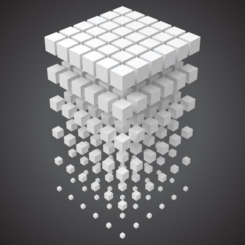 Малые кубы формируя большой куб blockchain и большое cncept данных иллюстрация вектора стиля 3d иллюстрация вектора