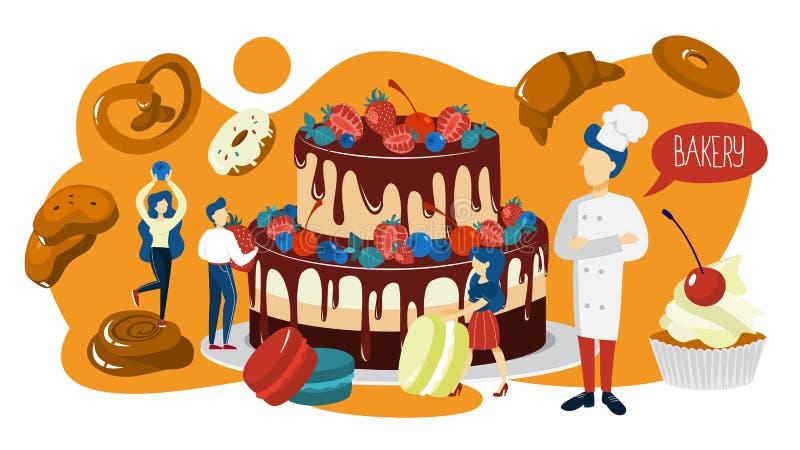Малые люди варя гигантский торт для торжества иллюстрация вектора